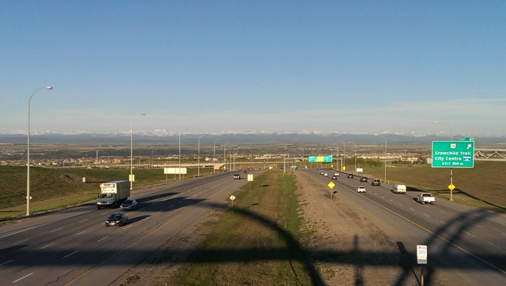 View from Stoney Trail pedestrian bridge.